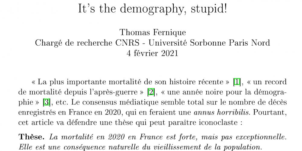 «Surmortalité Covid» en 2020 ? C'est la démographie, idiot !